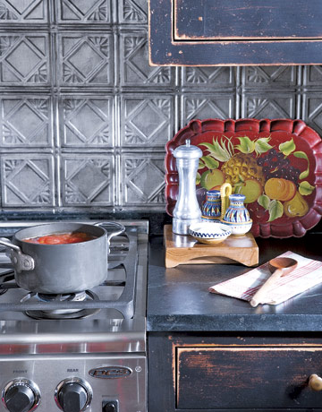 Country Living pressed tin backsplash